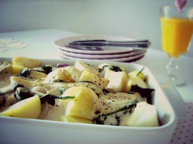 gratinado de salmao e espinafre