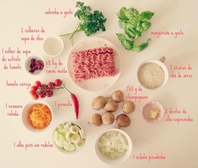 carne moída com champignons, pimenta e alho poró