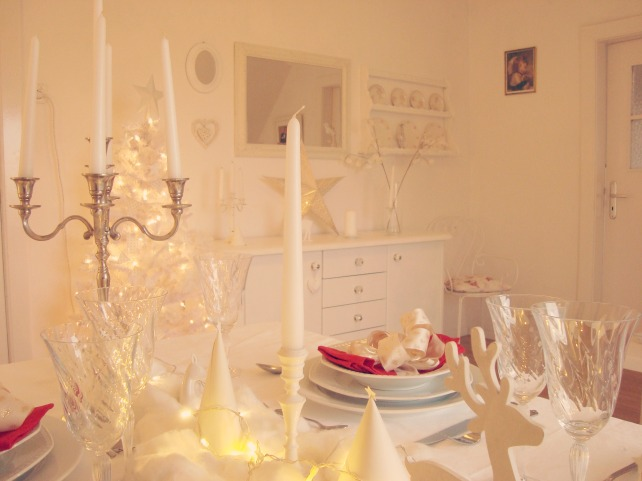 Mesa decorada para ceia